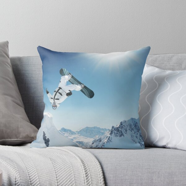 Cool Snowboarding Snowboarder Mountains Winter Snow Scene Throw Pillow