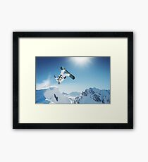 Cool Snowboarding Snowboarder Mountains Winter Snow Scene Framed Print