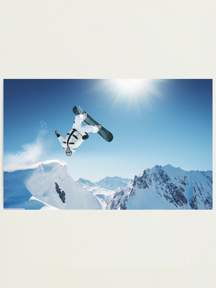 Cool Snowboarding Snowboarder Mountains Winter Snow Scene Photographic Print By Dv Ltd Redbubble