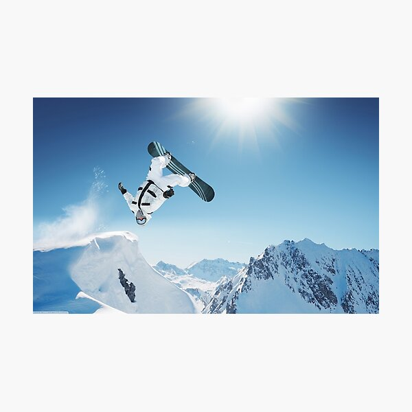 Cool Snowboarding Snowboarder Mountains Winter Snow Scene Photographic Print