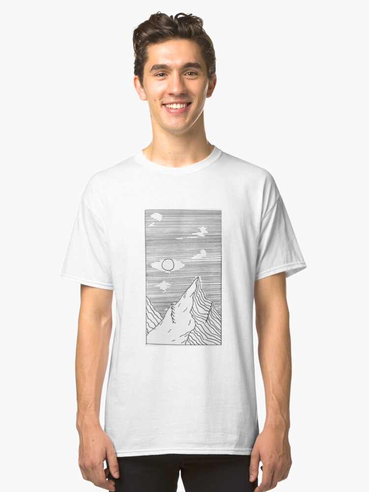 mountains drawing black and white Classic T-Shirt Front