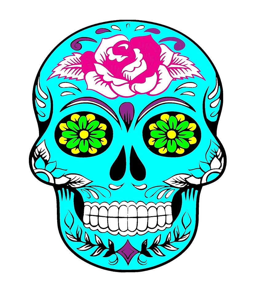 Bright Sugar Skull Graphic for Men And Women by sagemom