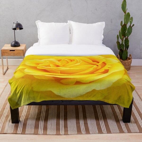 Beautiful Yellow Rose Closeup Photograph Throw Blanket