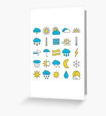 Weather Symbols Icons Set Greeting Card
