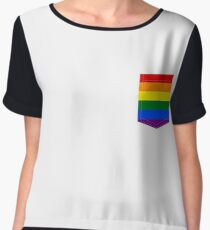 lgbt+ pride flag pocket Chiffon Top
