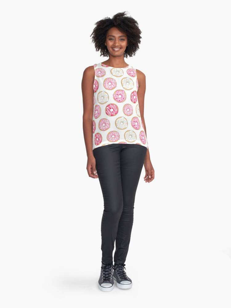 Alternate view of Pink Iced Donuts Pattern Sleeveless Top