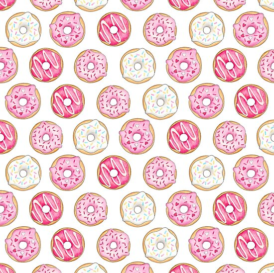 Pink Iced Donuts Pattern by Hazel Fisher