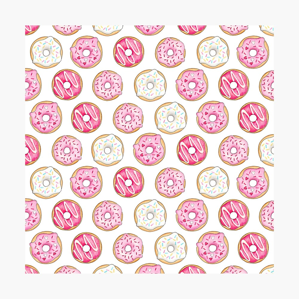 Pink Iced Donuts Pattern Photographic Print
