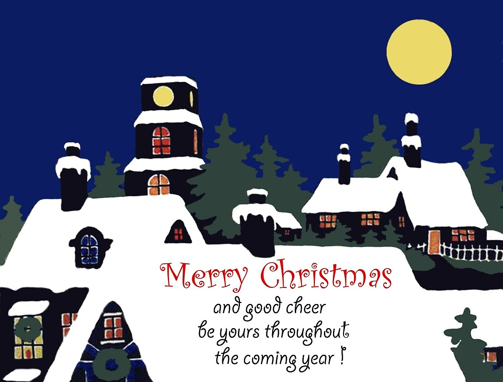 Snowy roofs at Christmas night, vintage holiday greeting by AmorOmniaVincit