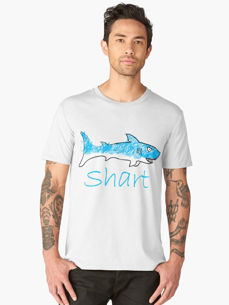 Shart Shark Art Drawing Men's Premium T-Shirt Front