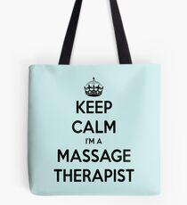 Keep Calm I Am A Massage Therapist Black Text Tote Bag