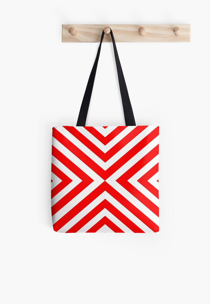 Abstract triangles geometric pattern - red and white. by kerens