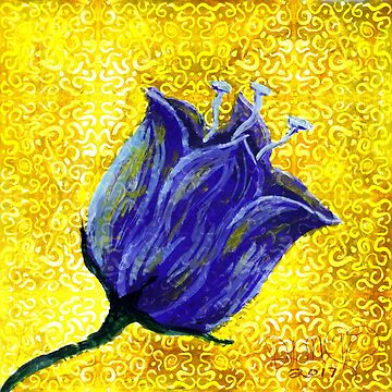 purple tulip on yellow with swirls and dots by DlmtleArt