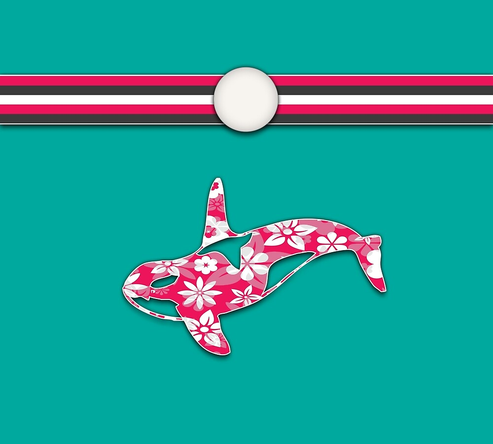 Teal and Pink Orca Stripes Animal Design Floral Pattern by SkylineSquirrel