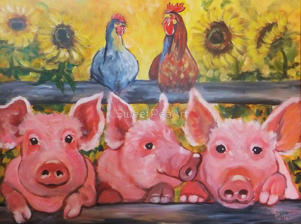 Country farm pigs hens and sunflowers by SweetPeaArt