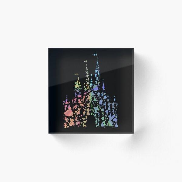 Happiest Castle On Earth (Rainbow Explosion) Acrylic Block