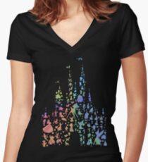 Das glücklichste Schloss der Welt (Regenbogenexplosion) Tailliertes T-Shirt mit V-Ausschnitt