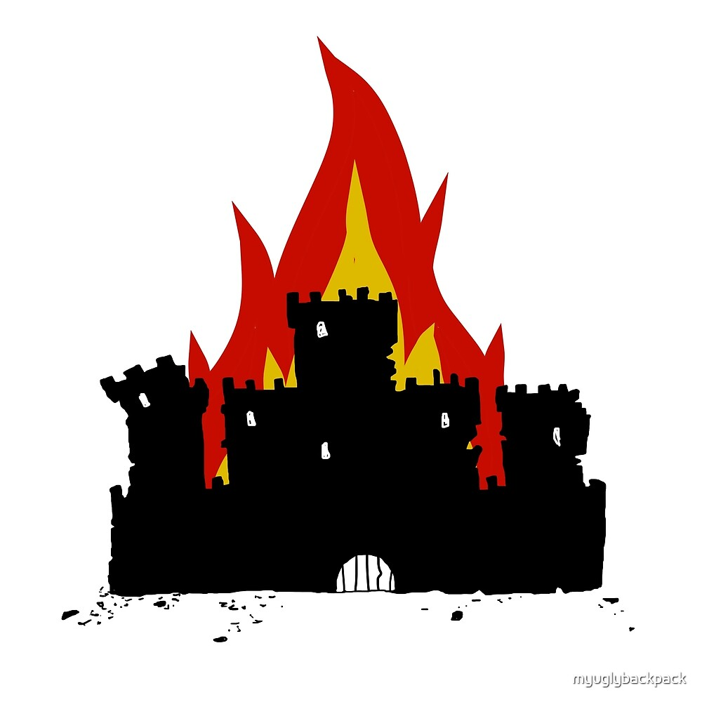 burning medieval fortress castle by myuglybackpack