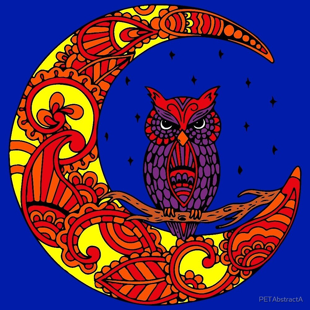 Owl Perched On a Celestial Moon  by PETAbstractA
