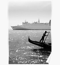 Two Boats, Venice Italy. Poster