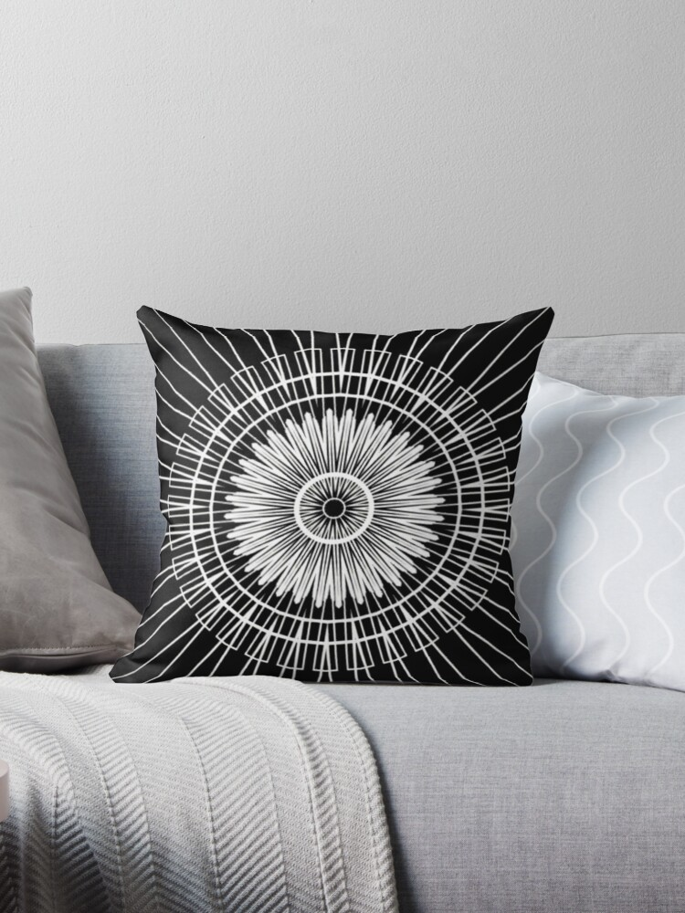 White and Black Flower Line Abstract  by Sheila Wenzel Ganny