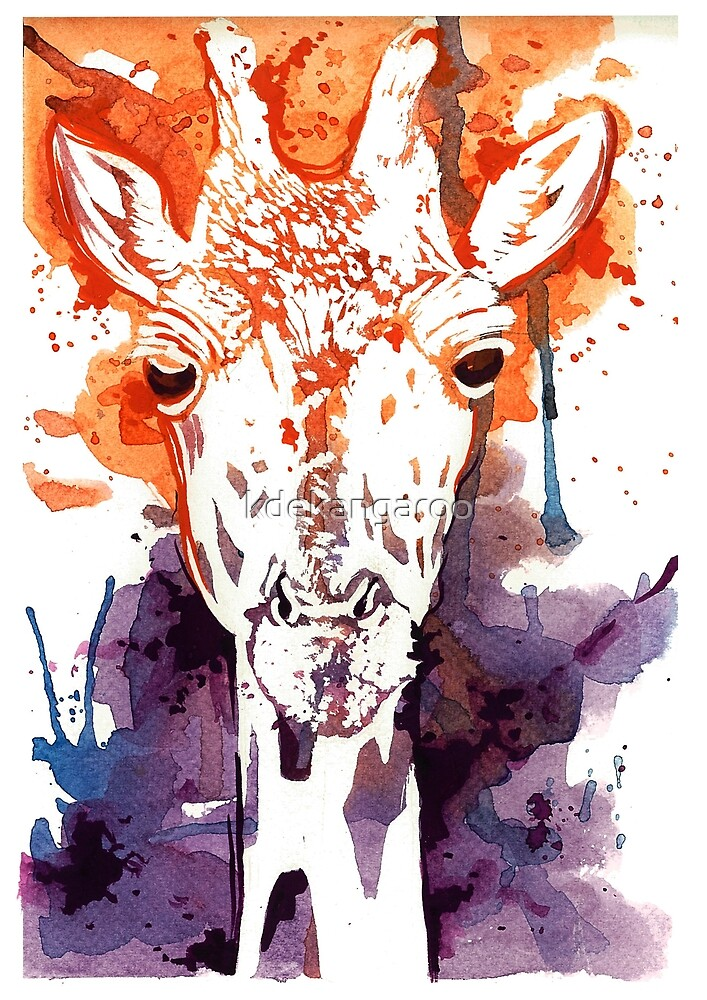 Watercolor giraffe by kdekangaroo