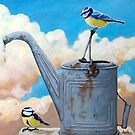 Birds, Sky & Vintage Watering Can - wildlife painting by LindaAppleArt