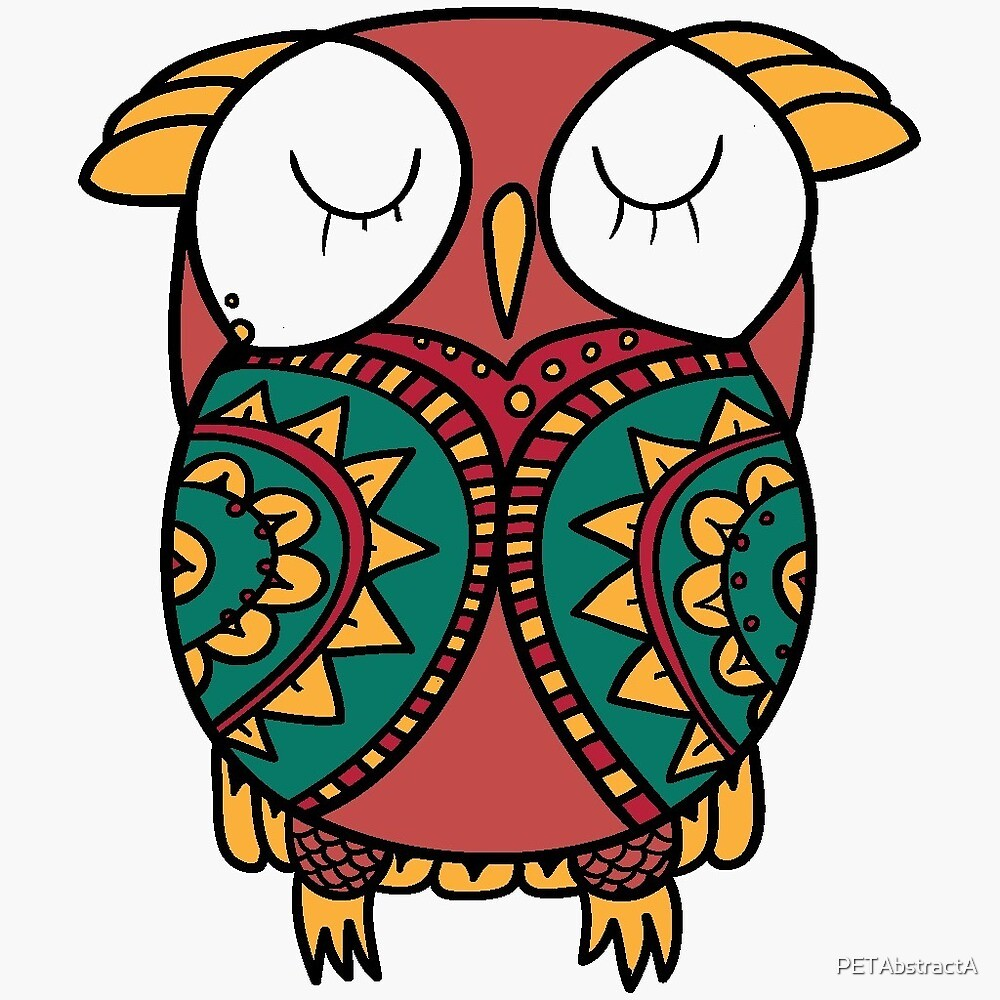 Sleepy Cartoon Owl by PETAbstractA
