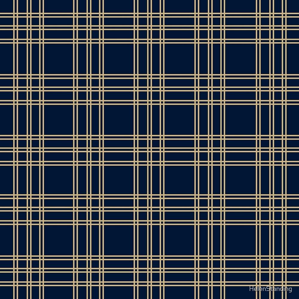 Three Line Tartan - Gold (B1) by HelenStanding