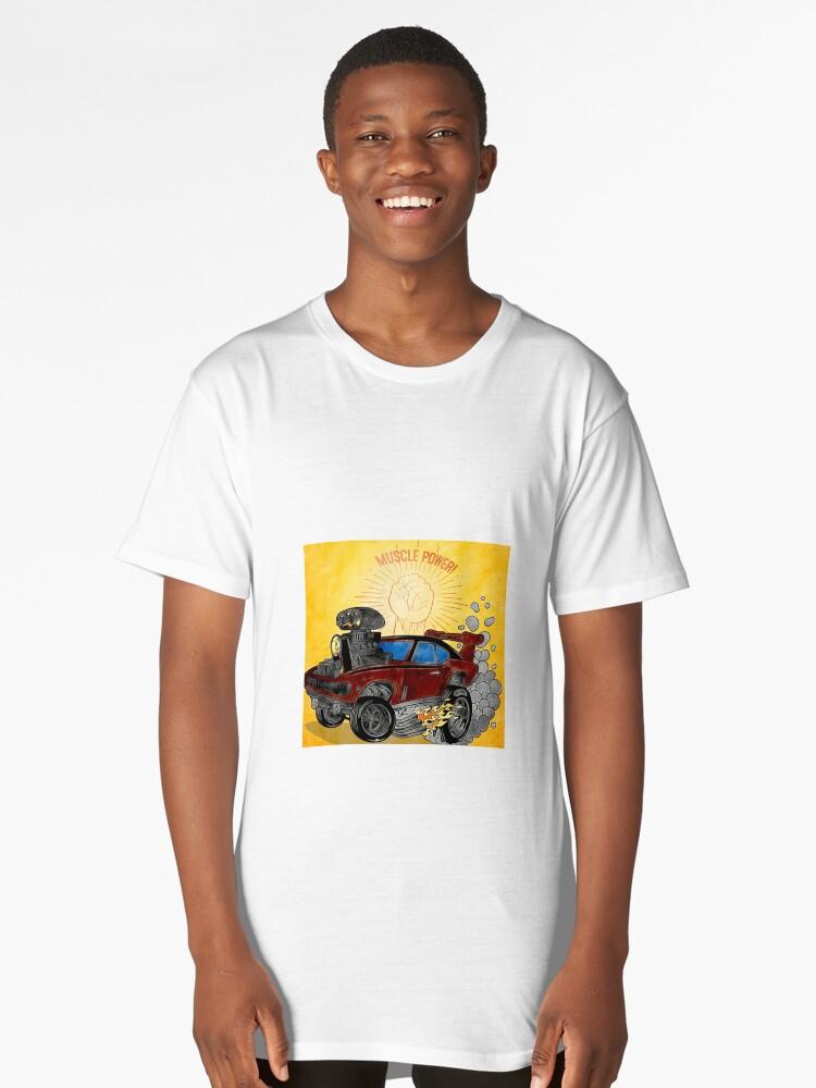 Muscle Power Car Cartoon Art Print  Long T-Shirt Front