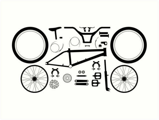 Bmx Bike Parts Art Prints By Frazza001 Redbubble