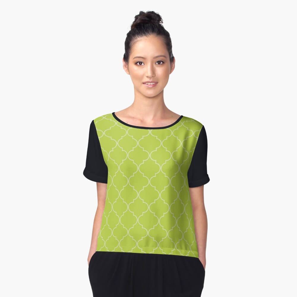 Lime Punch Quatrefoil Women's Chiffon Top Front