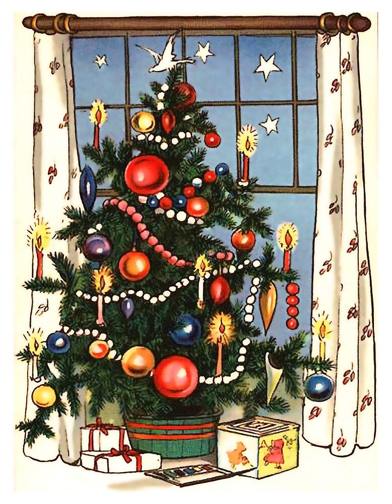 Decorated Christmas tree, vintage holiday greeting  by AmorOmniaVincit