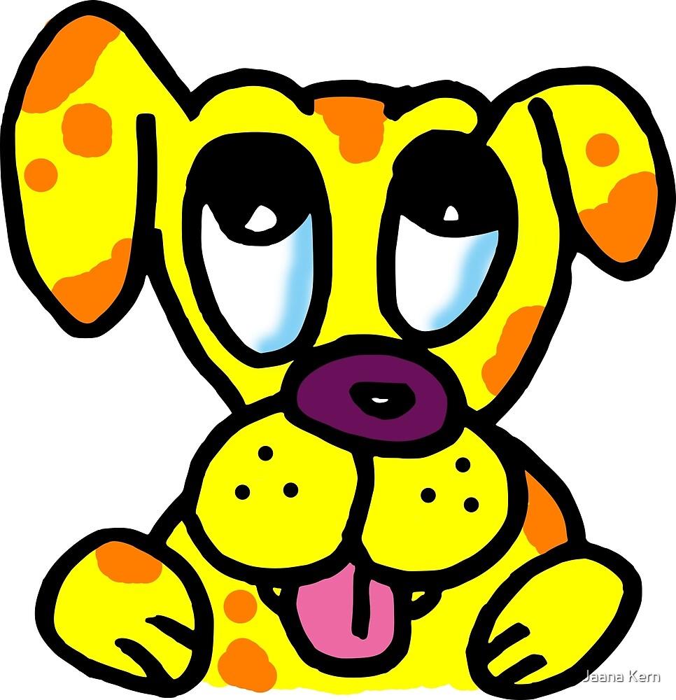 Cartoon dog with cute eyes by Jaana Kern