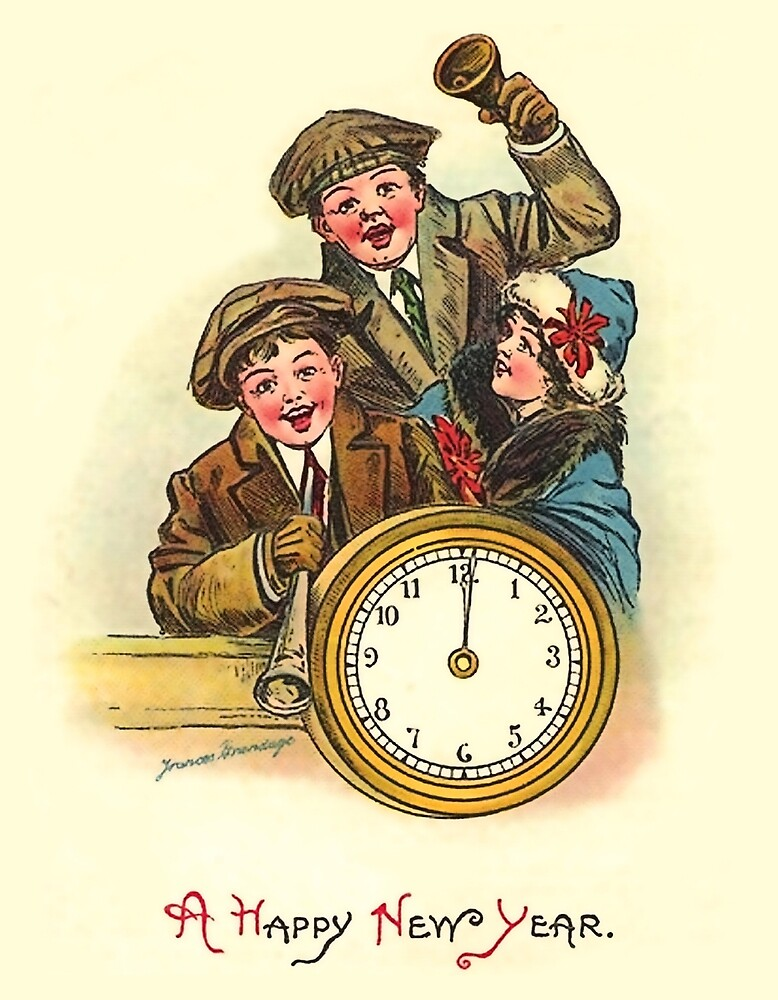 Happy New Year from three kids, vintage holiday card by AmorOmniaVincit