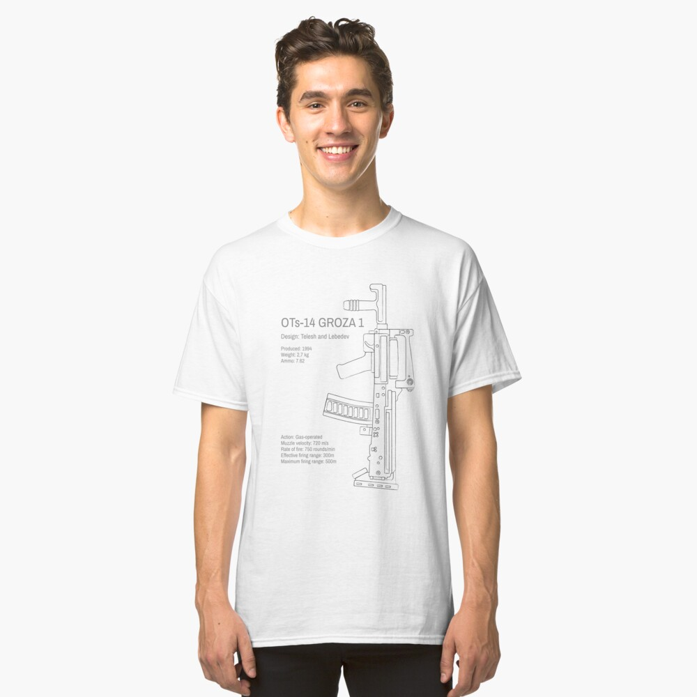 OTs-14 Bullpup Rifle Groza (ОЦ-14 Гроза) vertical grungy line art Classic T-Shirt Front