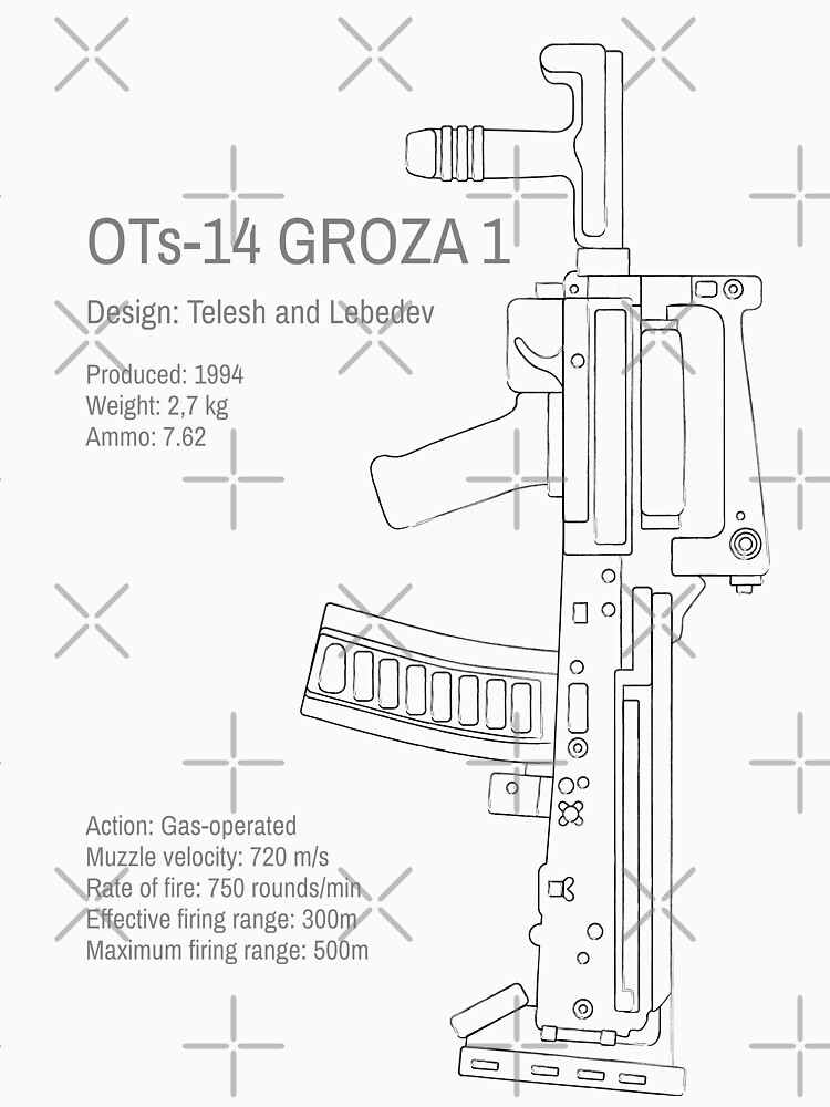 OTs-14 Bullpup Rifle Groza (ОЦ-14 Гроза) vertical grungy line art by Moolversin