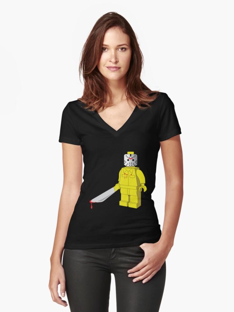 HORROR FIGURE Women's Fitted V-Neck T-Shirt Front