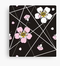 Cherry flowers in white and pink  Canvas Print