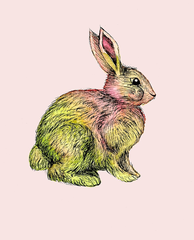 Pink and green rabbit by Audrey Robitaille