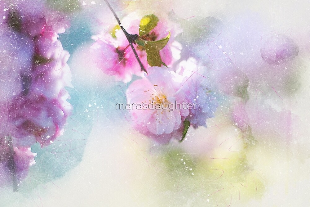 pink flowers in watercolor by marasdaughter