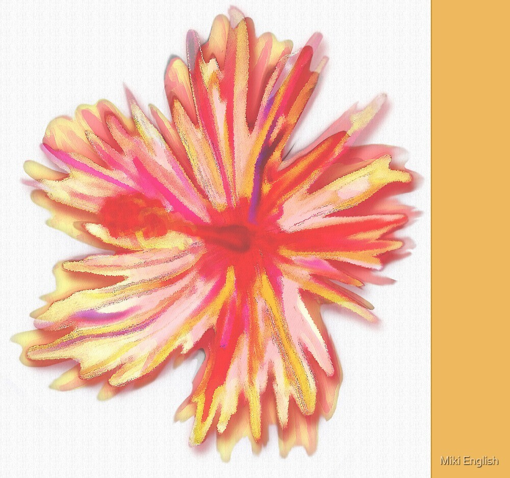 Red and Gold Tropical Hibiscus Flower  by terrasanostudio