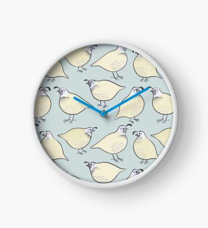 Cream Quail Birds Pattern Clock