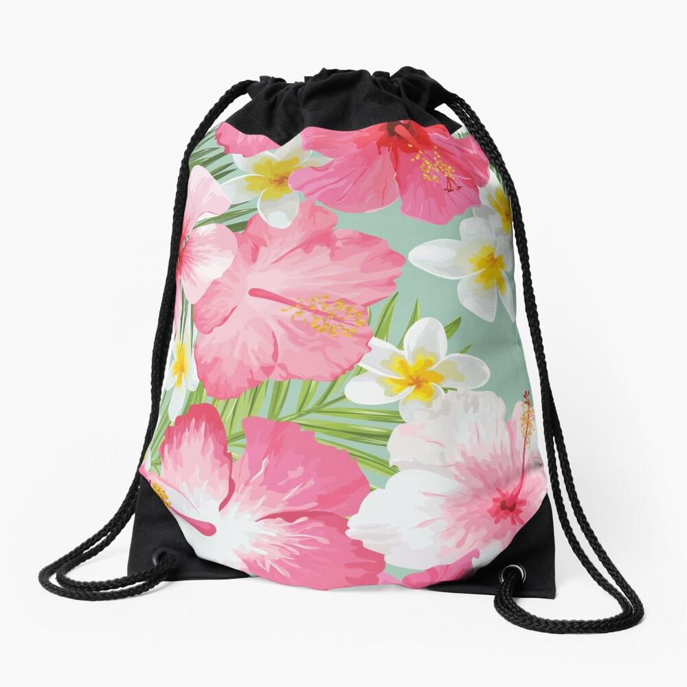 Tropical Hibiscus and Plumeria Flowers  Drawstring Bag