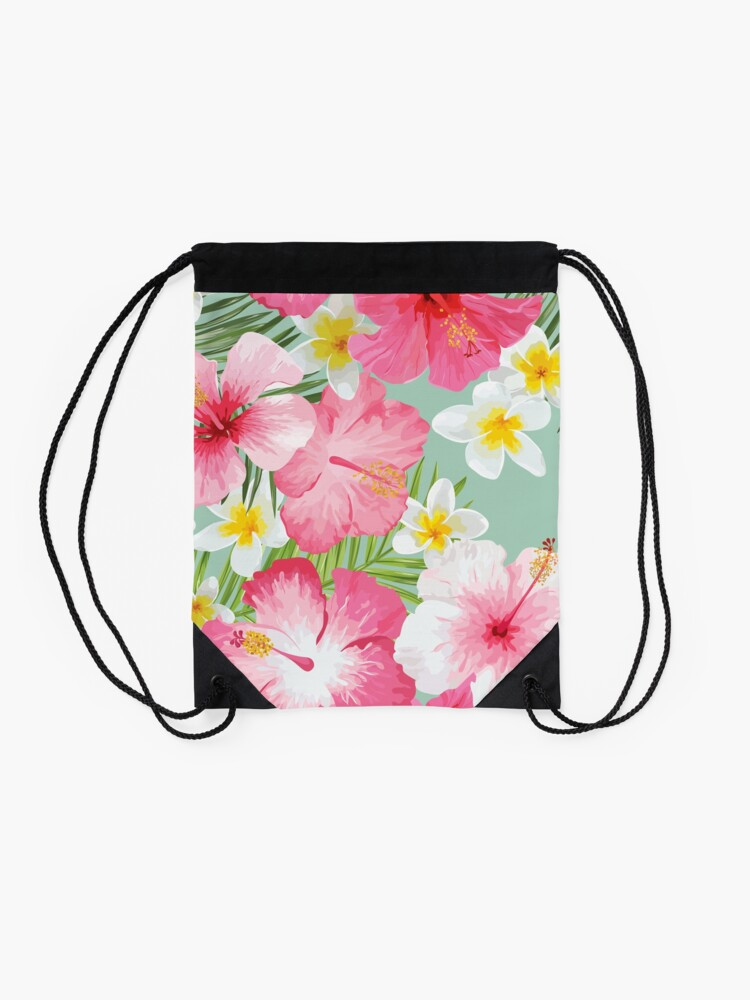 Alternate view of Tropical Hibiscus and Plumeria Flowers  Drawstring Bag