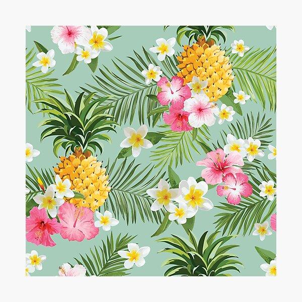 Hawaiian Pineapple and Tropical Flowers Photographic Print