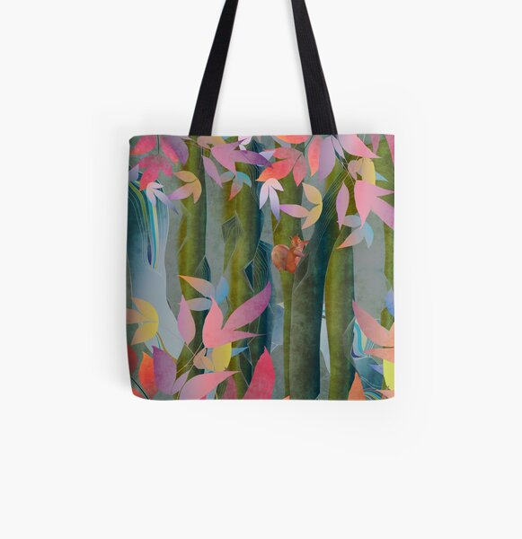 Autumn by a Waterfall All Over Print Tote Bag