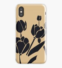 Woodcut style tulips iPhone Case/Skin