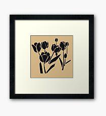 Woodcut Tulips design Framed Print