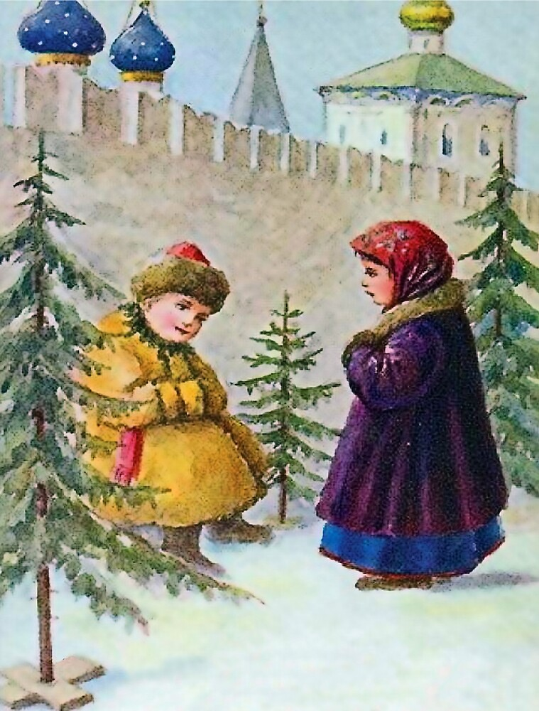 Boy is selling Christmas tree to a girl, vintage Russian postcard by AmorOmniaVincit